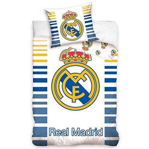 Real Madrid Parure de Lit, Coton, Blanc, 160x200 +70x80 cm
