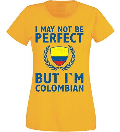 aprom Damen T-Shirt Kolumbien gelb X6 - WM World Cup Weltmeisterschaft (M)