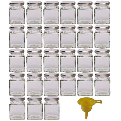 Viva Haushaltswaren - 27 x kleines Marmeladenglas / Gewürzglas 106 ml mit silberfarbenem Schraubverschluss, Gläser Set mit Deckel für Gewürze, Konfitüre, Salz etc. verwendbar (inkl. Trichter)