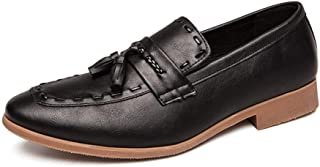 Shhdd Simple and classic business Oxford men walk shoes style synthetic leather Anti-slip block heel low top tassel block slip in the heel party (Color : Black, Size : 47 EU)