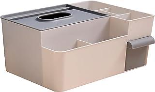 リモコン収納 ティッシュケース 多機能小物入れ 化粧品収納 卓上収納おしゃれ 居間寝室事務所収納ケース小物 (グレー)