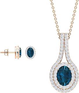 Rosec Jewels - 2.7 CT London Blue Topaz Pendant Earrings Set, HI-SI 0.71 CT Diamond Halo Pendant (AAA Quality)