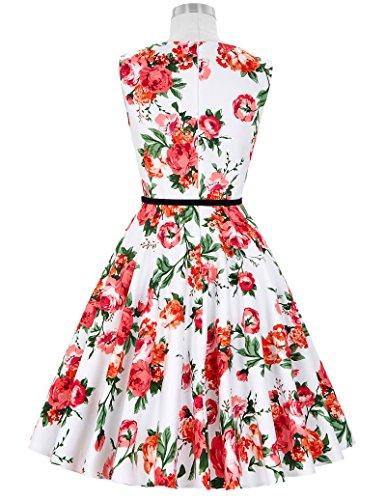 50er jahre vintage Rockabilly kleid partykleid blumen kleid Hepburn Stil Swing-kleid Größe S CL6086-39 - 2