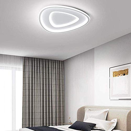 Lámpara de techo creativa triángulo para dormitorio, lámpara de techo, lámpara de estudio moderna nórdica, lámpara de lujo, lámpara blanca regulable sin niveles, 52 x 52 x 4,5 cm, 42 W