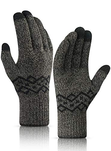 TRENDOUX Gloves Women, Driving Glove Touch Screen Men Texting - Walking Snow Riding - Knit Thermal Lining - Elastic Cuff - Warm Double Thickened - Windproof Cold Weather Glove - Black & Khaki - M