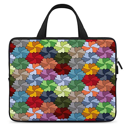 Laptop Sleeve Bag Compatible with 12 Inch Notebook Computer, Water Repellent Polyester Vertical Protective Case Cover, Tessellated Multi-Colored Flower Wheel Pattern-181