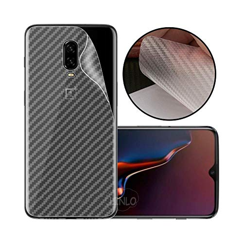 LINLO Compatible for OnePlus 6T Ultra Thin Slim Fit Clear Transparent 3D Carbon Fiber Back Skin Rear Screen Guard Protector Sticker Protective Film Wrap Not Glass (Carbonn)