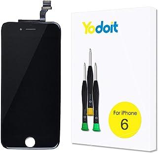 Yodoit Pantalla para iPhone 6 Negro, 4.7'' Retina Display, Táctil LCD de Repuesto Ensamblaje de Marco Digitalizador Contiene Herramientas + película de Vidrio Templado