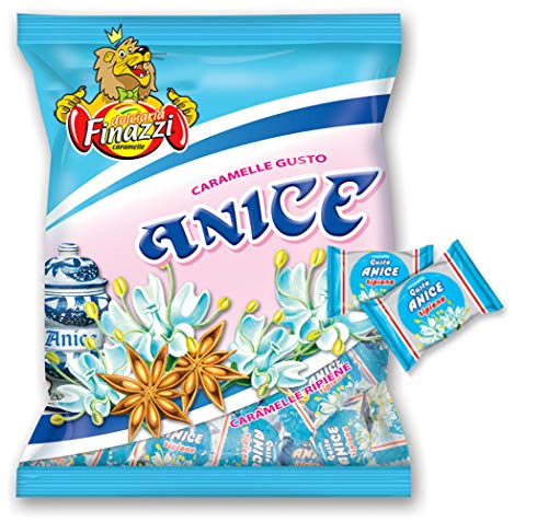 Caramelle Anice Ripiene Finazzi kg 1 - Caramelle Ripiene al gusto di Anice - Busta 1000gr Trasparente Made in Italy