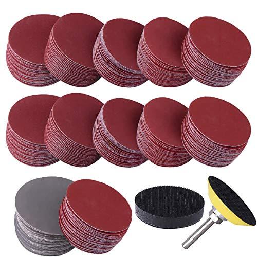 Dandelionsky 300 Stück Schleifscheiben, 50 mm, Klett-Schleifpads mit 0,64 cm Schaftrückseite und Schaumstoffpuffer, Körnung 80/180/240/320/400/600/800/1000/2000/3000