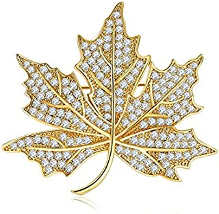 Jewelry Micro Pave Canadian Maple Leaf Brooches and Pins Silver Tone (Gold)