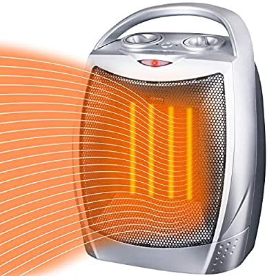 750W/1500W Ceramic Space Heater for Home Office, ETL Listed Electric Portable Heater with Tip-Over and Overheat Protection, Personal Room Heater Fan with Thermostat Control