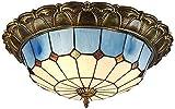 Lámpara de techo, luz de baño Luces de techo LED, lámpara de techo de la sombra de cristal, decoración mediterránea azul Flush Monte en la iluminación de techo para el dormitorio de la sala de estar,