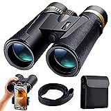 K&F Concept - Prismáticos 12x42mm Prismas BaK4 y FMC/Impermeable IP65/con Soporte para Teléfono Móvil, Binoculares de Gran Alcance para Observación de Aves/Senderismo/Astronomía para Niños