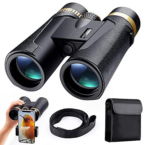 K&F Concept - Prismáticos 12x42 Prismas BaK4 y FMC/Impermeable IP65/con Soporte para Teléfono Móvil, Binoculares de Gran Alcance para Observación de Aves/Senderismo/Astronomía para Niños