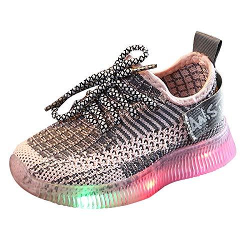 YISHIO LED leuchten Babyschuhe 1-6 T-Trainer Kleinkind Leuchtende Kinder Wanderschuhe Atmungsaktive Socker Sneakers Weiche Sohle Geschenk für Jungen Mädchen Leichte (Color : AbPink, Size : 23)