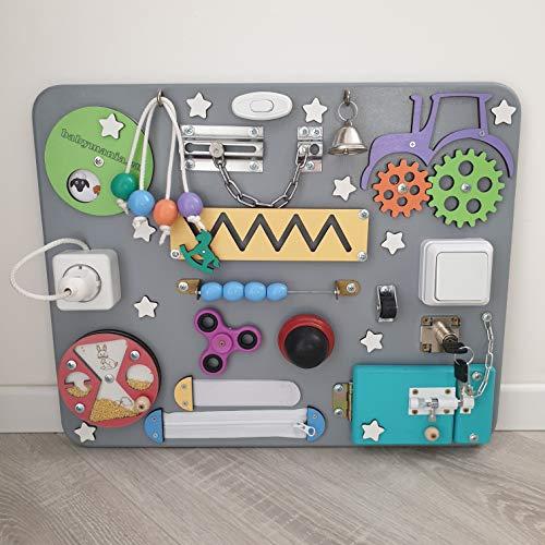 Pannello Sensoriale Montessori Babymania Busy Board - Tavola attività (Unisex)