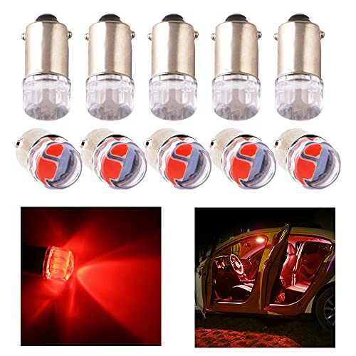 YongMing Extremely Bright BA9S BA9 Led Car Light Bulbs 53 57 64111 1895 T4W Red for Interior Dome Map Instrument Panel Lights Pack of 10