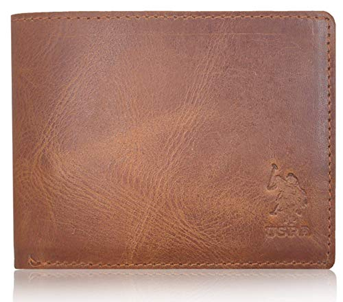 US POLO ASSN. Men's Bi-Fold Rough Leather Wallet with Card Holders (Chocolate Brown)