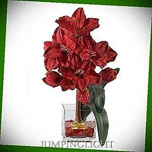 JumpingLight 1110-RD Amaryllis Liquid Illusion Silk Flower Arrangement Artificial Flowers Wedding Party Centerpieces Arrangements Bouquets Supplies