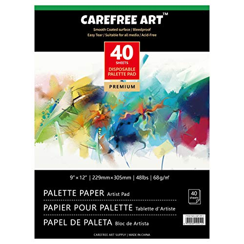 EBIVEN Disposable Palette Pad Coated Paper for Oil Paints Mixing, 9'' x 12'', Pack of 40 Sheets (9' x 12'(40 Sheets))
