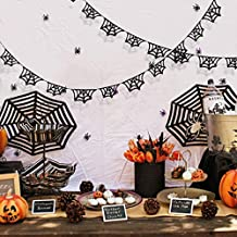 30 Ft Halloween Party Decoration Kit Double Sided Black Glittery Spiderweb Banner Bunting Cobweb Garland with Black and Pu...