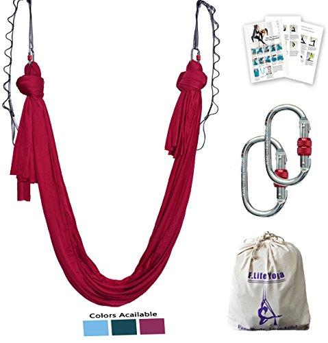 Aerial Yoga Hammock 5.5 Yards Premium Aerial Silk Fabric Yoga Swing for Antigravity Yoga Inversion Include Daisy Chain,Carabiner and Pose Guide (Dark Red)
