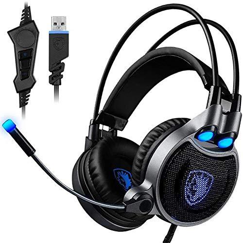 Headset Esports Headset, Casque de Jeu Professionnel 3,5 mm avec Microphone Rotatif à réduction de Bruit pour PS4, Nintendo Switch, Xbox One, PC-Blue