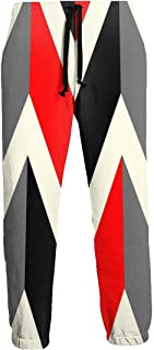 Cyloten Sweatpants Geometric Abstract Red Black Gray Line Men's Trousers Lightweight Jogging Pants Casual Sportswear