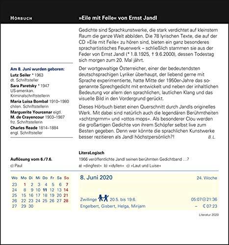 Harenberg Literatur – Kalender 2020 - 3