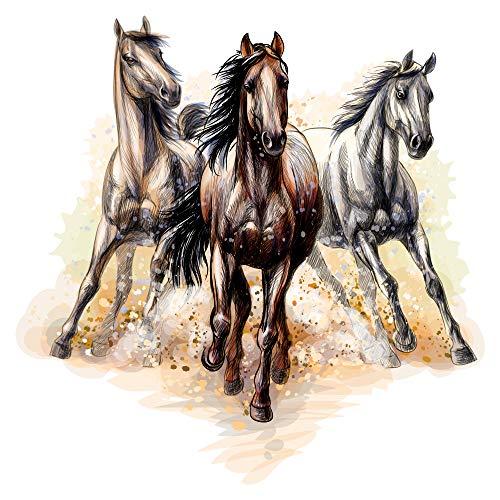 dekodino® Wandtattoo Kinderzimmer Pferde 3er Set im coolen Stil Pferdekopf Deko