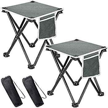 BestFire 2 Pack Camping Stool Portable Folding Stool Chair with Mesh Pocket Mini Folding Chair Hold Up to 400lbs for Adults Camping Fishing Picnic Travel and Hiking  with Storage Bag