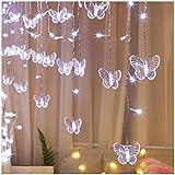 16,4 pies mariposa luces de colores cadena de hielo, 216 leds 36 Gotas luces de red Decoración de Navidad, a prueba de agua al aire libre luces de fondo (Color : Cool white)