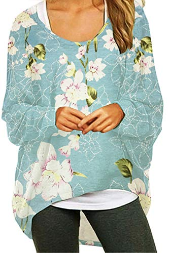 UGET Women's Oversized Baggy Tops Loose Fitting Pullover Casual Blouse T-Shirt Sweater Batwing Sleeve Floral Blue Small