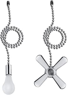Uotyle Maim Ventilador de techo de cadena decorativa de metal y bombilla de cristal, extensión de 12 pulgadas