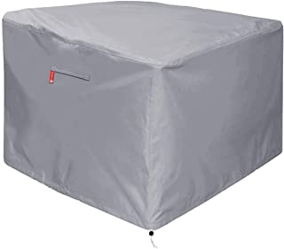"Gas Fire Pit Cover Square - Premium Patio Outdoor Cover Heavy Duty Fabric with PVC Coating,100% Waterproof,Anti-Crack,Fits for 30 inch,31 inch,32 inch Fire Pit / Table Cover (32""L x 32""W x 24""H,Gray)"