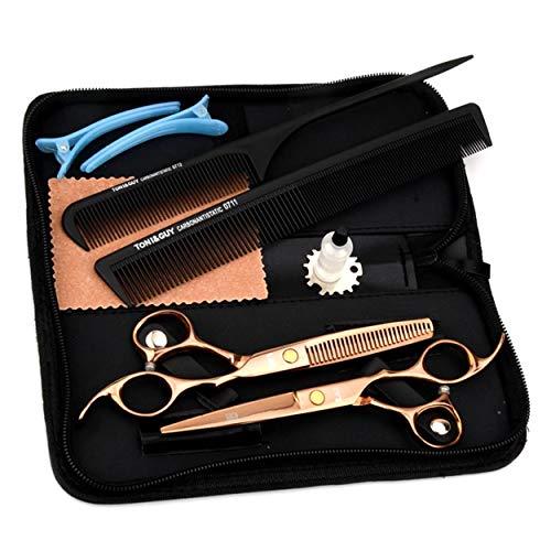Super-ZS Ciseaux de Coiffure Haut de Gamme Professionnels, Ensemble de Soins de beauté en Or avec Bouton réglable en Acier Inoxydable de 17,5 cm (Peigne + épingle à Cheveux)