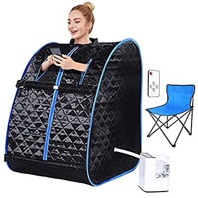 OppsDecor Portable Steam Sauna Spa, 2L Personal Therapeutic Sauna for Weight Loss Detox Relaxation at Home,One Person Sauna with Remote Control,Foldable Chair,Timer