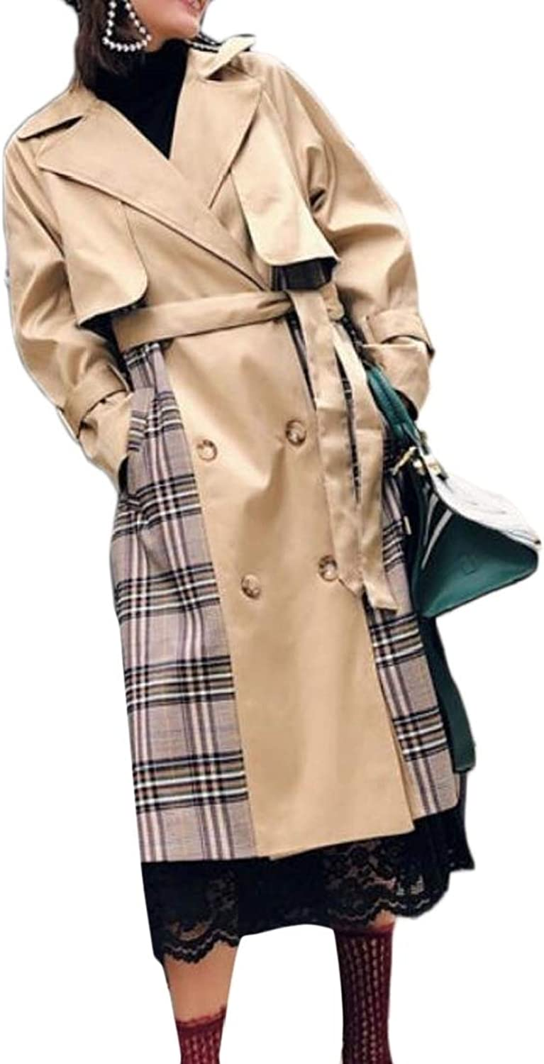 WofupowgaCA Womens Lapel Spliced color Block Plaid DoubleBreasted Trench Coat