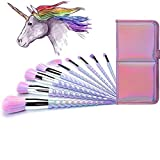 Ammiy Unicorn Makeup Brushes 10pcs With Colorful Bristles Unicorn Horn Shaped Handles Fantasy Makeup Brush Set Foundation Eyeshadow Unicorn Brush Kit With a Cute Iridescent Carrying Case