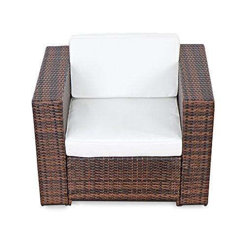 XINRO XINRO® (1er Premium Lounge Sessel - Lounge Sofa Gartenmöbel günstig Loungesofa Polyrattan XXL Rattan Sessel - In/Outdoor - handgeflochten - mit Kissen - braun