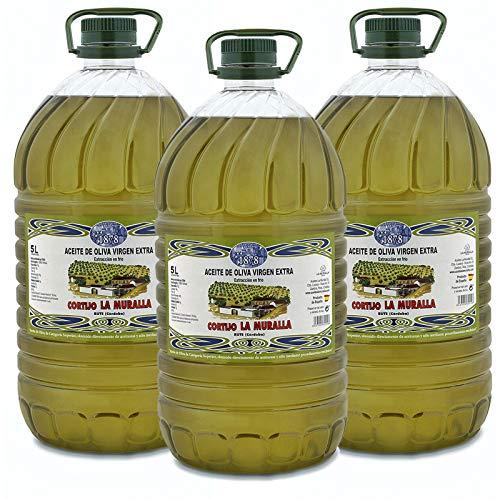Aceite de Oliva Virgen Extra - Hojiblanca - 3 garrafas de 5 Litros (15 L) – Extracción en frío – Olivar tradicional - Parque Natural de la Subbética Rute, Córdoba, Andalucía - [PRODUCTO DE ESPAÑA]