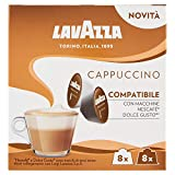 Dolce Gusto Compatible Lavazza Cappuccino Capsules (1 Pack of 8 Coffees + 8 Milk)