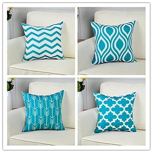 Pack de 4 Funda de Cojine 65 x 65 cm 26 x 26 Inches Azul Zafiro Cuadrado Cushion Cover Decoración Algodón Lino Lanzar Funda de Almohada Caso de la Cubierta Cojines para Sofá Decorativo X4256