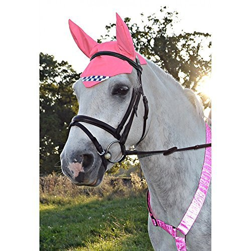EQUISAFETY HIGH VIZ REFLECTIVE HORSE EARS ONE SIZE (PINK WITH POLITE TAPE)