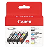 Canon 2946B004 (CLI-221) Ink Cartridges, BLK/CYN/MAG/YLW, 4 Color Pack in Retail Packaging