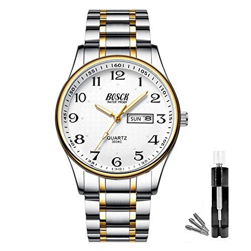 BOSCK Reloj analógico para hombreReloj de Pulsera de Moda Impermeable de Acero Inoxidable para Hombres Reloj empresarial de Cuarzo con Fecha y día automáticos,