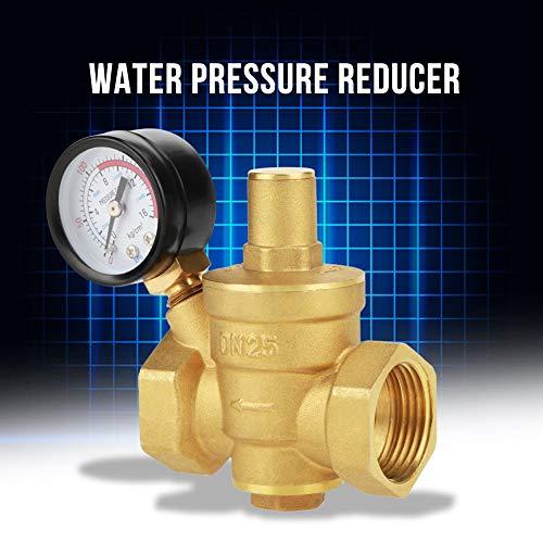 YELLAYBY Válvula de alivio, DN25 Reductor de presión de agua ajustable de latón Reductor de regulador con medidor de calibre Controlador de fluidos para neumático