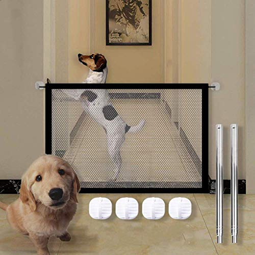 N/C Barriera per Cani,Magic Gate per Cani,Pet barriera cancelletto di Sicurezza,Barriera di Sicurezza Estensibile,Griglia di Protezione per la Porta Pieghevole per Cani e Gatti (180 x 80 cm)