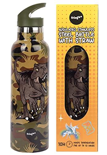Fringoo - Botella de Agua con Pajita de Dinosaurio Camuflado - Botellas de Agua Grandes Libres de BPA - Botella de Agua de Acero Inoxidable - Botellas de Agua para Niños - 600 ml